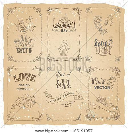 Handwritten lettering ribbons and love design elements. There is place for your text.