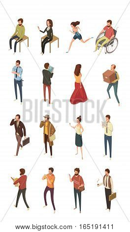 People isometric icons set isolated vector illustration