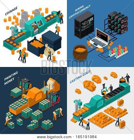 Industrial isometric concept with manufacturing of different types of money mechanical equipment and workers vector illustration