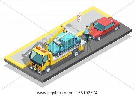 Colored isometric parking composition tow truck working on the roadside and evacuate a parked car vector illustration