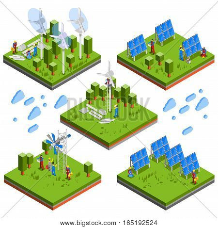 Square isometric landscape compositions set with electricians assembling solar batteries windmachines and environmental friendly energy sources vector illustration