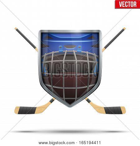 Ice hockey symbol goalie helmet inside shield with sticks. Design elements. Illustration isolated on white background.