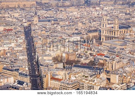 View of Paris  from the top at daylight