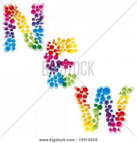 Vector New. Rainbow font.