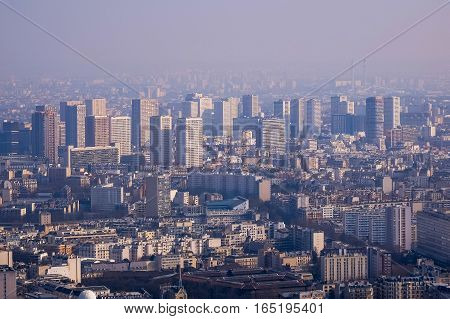 View of Paris from the top of Eiffel Tower