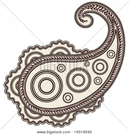 Hand-Drawn Psychedelic Paisley Notebook Doodles on Lined Paper Background- Vector Illustration.