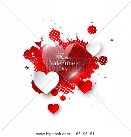 Valentine's day background with glossy, paper hearts and watercolor splash. Abstract greeting banner. Vector illustration.