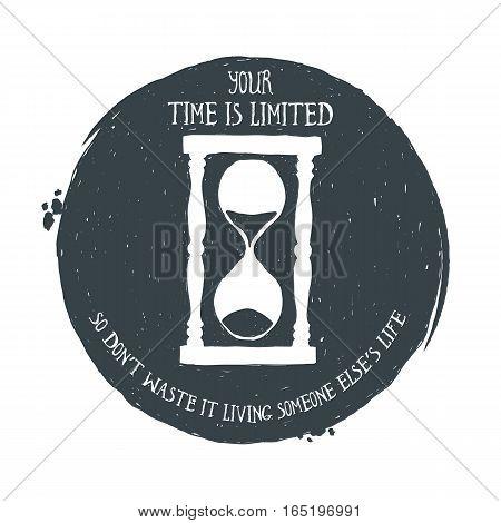 Hand drawn vintage alarm clock. Sketch style. Vector illustration. T-shirt print. Poster. Logo. Hipster