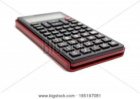 Black scientific calculator isolated on white background