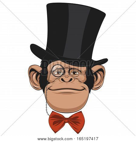 Vector illustration of funny chimpanzee with a hat on a white background