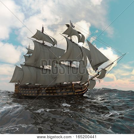 3D Illustration Old Sailboat On The Sea