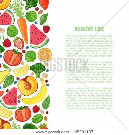 Template design booklet with the decor of the fruit. Vertical pattern of natural foods, fruits, vegetables and berries. Seamless decor vegetarian meal for poster, banner. Vector.