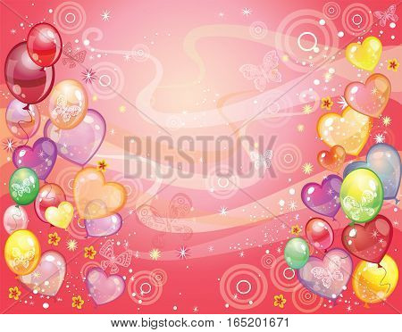 Colorful holiday background with balloons confetti and butterfly. Vector