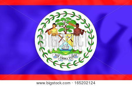 3D Flag Of The Belize. 3D Illustration.