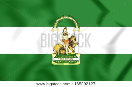 3D Flag Of Andalusia, Spain. 3D Illustration.