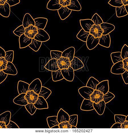Golden flowers seamless pattern, hand drawn tileable background. Narcissus is one of symbols of Spring Festival or Chinese New year in China. Gold and black