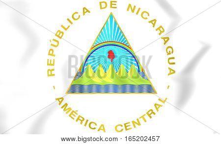 Nicaragua coat of arms. 3D Illustration. Close Up.