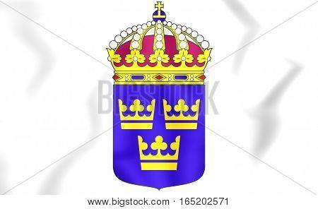 Sweden coat of arms. 3D Illustration. Close Up.