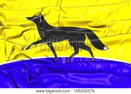3D Flag Of Surgut (khanty-mansi Autonomous Okrug), Russia. 3D Illustration.