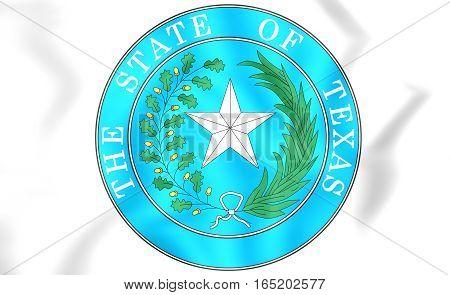 Seal of Texas USA. 3D Illustration. Close Up.