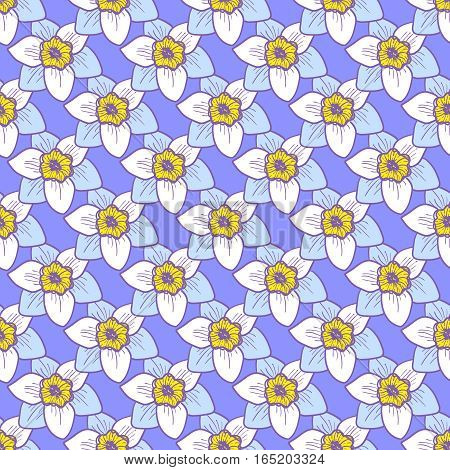 Narcissus flowers seamless pattern, hand drawn tileable vector background. Blue petals