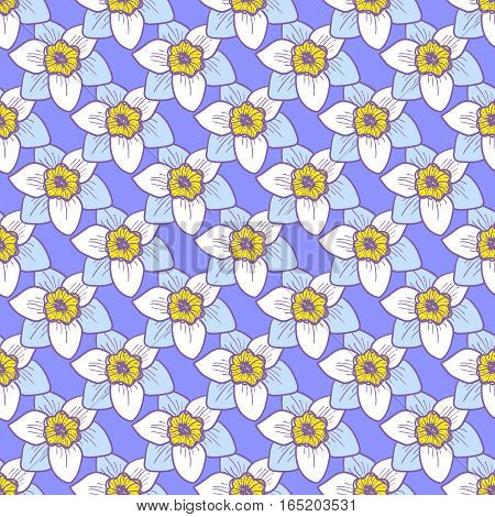 Narcissus flowers seamless pattern, hand drawn tileable background. Blue petals