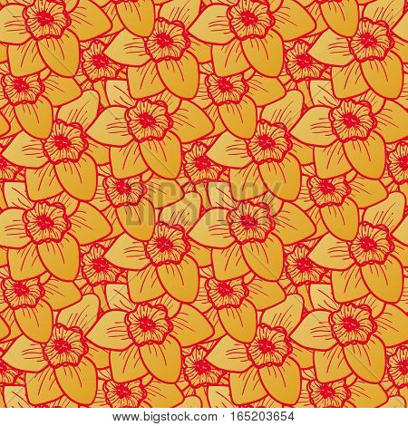 Golden flowers seamless pattern, hand drawn tileable vector background. Narcissus is one of symbols of Spring Festival or Chinese New year in China. Gold and red