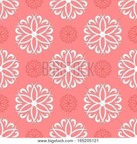 Flowers and curls. Seamless pattern. Repeated pattern. White pink.