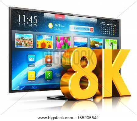 3D render illustration of 8K UltraHD resolution internet web smart TV cinema or computer PC monitor display isolated on white background with reflection effect