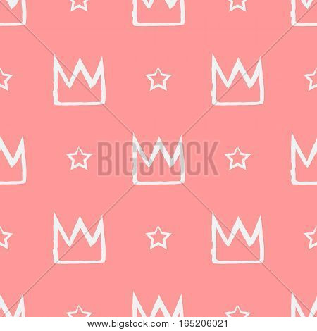 Seamless pattern with crowns and stars painted with a brush. Repeated grunge texture. White pink.