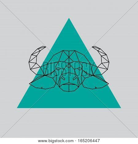 Buffalo head geometric lines silhouette. Vector design element illustration.