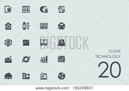 technology vector set of modern simple icons