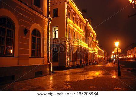 photo night street winter holidays holidays lights