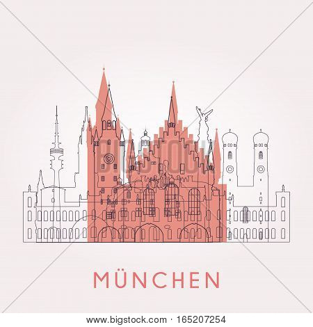 Outline Munich vintage skyline with landmarks. Vector illustration. Business travel and tourism concept with historic buildings. Image for presentation banner placard and web site.