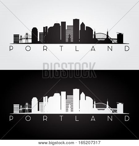 Portland USA skyline and landmarks silhouette black and white design vector illustration.