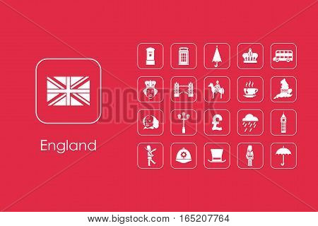 It is a set of England simple web icons