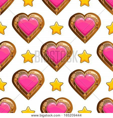 Seamless pattern with heart and star. Valentines illustration
