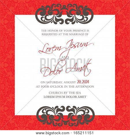 Luxury vintage wedding invitation floral decorative card