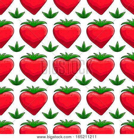 Seamless pattern with cartoon strawberry. Berrys illustration
