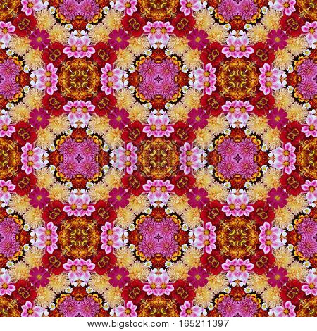 Colorful background of garden flowers, top view. The effect of a kaleidoscope. You can make a seamless background.