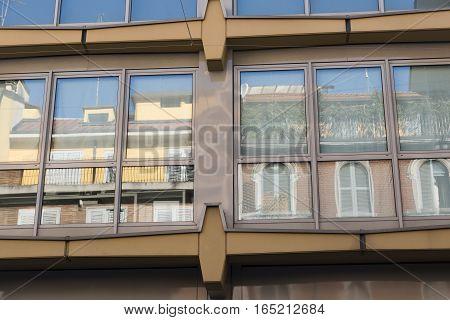 Milan (Lombardy Italy): windows of modern building along via Piero della Francesca