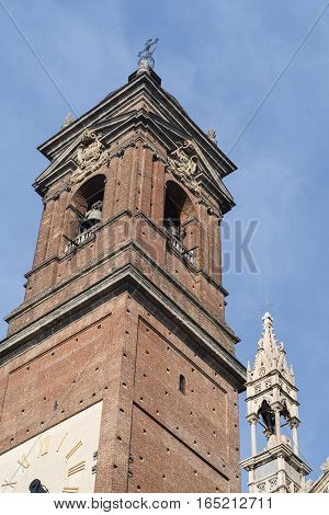 Monza (Brianza Lombardy Italy): historic cathedral exterior (Duomo) the belfry