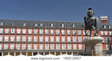 Madrid (Spain): facade of historic buildings in Plaza Mayor the main square of the city