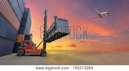 Industrial Container yard with plane for Logistic Import Export business concept