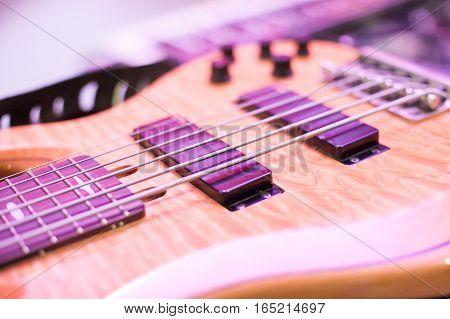 guitar strings close up, macro. semi-hollow body electric guitar close up.