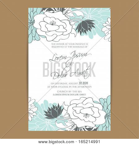 Wedding invitation or announcement fkoral decorative card