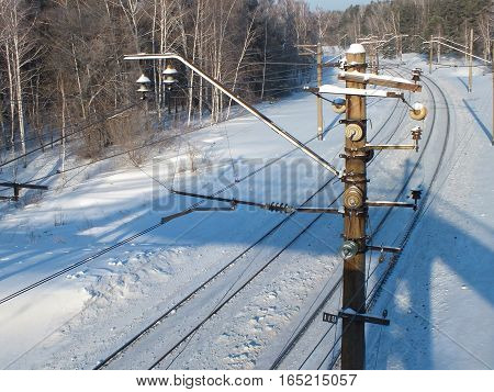 Winter forest landscape with railway poles, Siberia, Russia