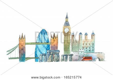 City of London Skyline famous landmarks travel and tourism waercolor illustration