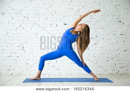 Young attractive woman practicing yoga, standing in Viparita Virabhadrasana exercise, Reverse Warrior pose, working out, wearing sportswear, blue suit, indoor full length, white loft studio background