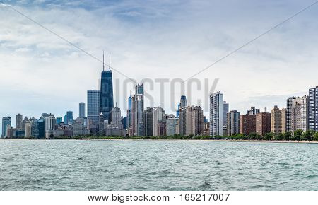 North downtown skyline and cityscape of Chicago